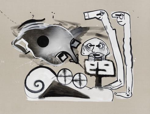 Tobias Pils, Untitled (fathers), 2017, Mischtechnik auf Leinwand