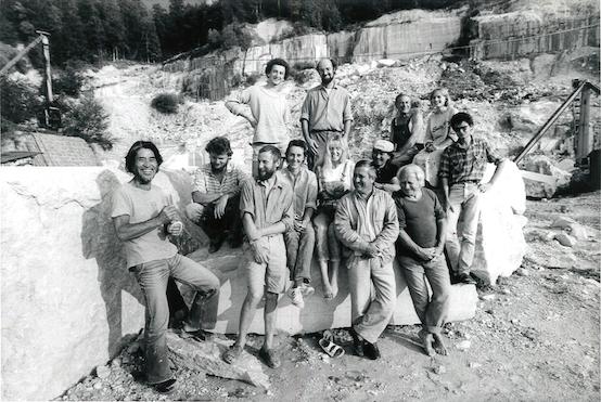 Makoto Fujiwara, Alois Lindenbauer, Janez Lenassi, Karl Prantl, Milos Chlupac und Studierende, 1987, Kiefer Steinbruch, Fürstenbrunn